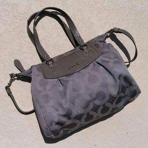 COACH Gray + Silver Signature Handbag Tote